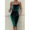 Womens Elegant Plain One Shoulder Strap Velvet Midi Tight Dress for Party