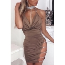 Womens Popular Night Club Style Plain Halter Cowl Neck Rhinestone Chain Embellished Backless Mini Bodycon Dress