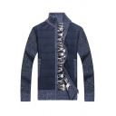 Mens Stylish Blue Long Sleeve Stand Up Collar Zip Up Slim Fit Knitted Jacket Cardigan