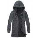 Mens Casual Plain Dark Gray Long Sleeve Drawstring Hood Zip Placket Longline Cardigan Coat
