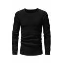 Mens Casual Pleated Long Sleeve Round Neck Slim Fit Plain Pullover Sweater