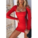 Womens Sexy Square Neck Long Sleeve Whole Colored Fitted Mini Edgy Party Dress