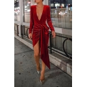 Ladies Retro Deep V-Neck Long Sleeve Solid Color Pleuche Mini Asymmetric Dress