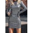 Womens Cool Silver Sequins Decoration Long Sleeve High Collar Mini Fitted Nightclub Dress