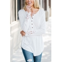 Womens Classic Plain White Lace Patched Long Sleeve Button Down Curved Hem Outdoor Tee
