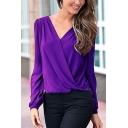 Ladies Elegant Lace Panel Back Surplice V-Neck Long Sleeve Purple Chiffon Top