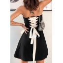 Black Popular Sweetheart Neck Lace-Up Back Mini A-Line Bustier Tube Dress for Evening Party
