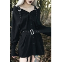 Womens Punk Style Pin Buckle Straps Button Down Plain Black Mini Belted Dress for Party