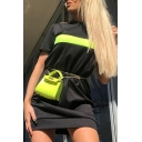 Womens Cool Fluorescent Stripe Splicing Round Neck Short Sleeve Black Mini Fitted T-Shirt Dress