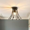 Metallic Crown Flush Mount Lighting Modern 1 Light Kids Flush Ceiling Light in Black/Gold/White