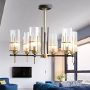 6-Head Clear Glass Chandelier Pendant Contemporary Black and Gold Triangular Prism Suspension Lamp