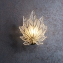 Maple Leaf Wall Light Fixture Modernism Clear Crystal 1 Bulb Golden Wall Sconce with Round Backplate
