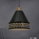 Cone Shade Pendant Light Farmhouse Style Metal 1 Light Black Hanging Ceiling Light with Hollow Out Design
