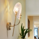 Simple Style Oval Sconce Light Fixture Prism Crystal 1 Light Corridor Wall Mount Light