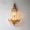 Brass Anchor Wall Sconce Light Vintage Metal and Crystal 3 Lights Living Room Wall Light Fixture
