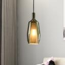 Modern Tulip Green Glass Hanging Lamp Kit 1 Head Pendant Ceiling Light for Bedroom