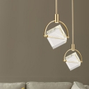 Cubic Pendant Light Fixture Modern Clear Glass 1 Head Gold Hanging Light for Bedroom