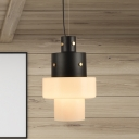 Cylinder Suspension Pendant Simple Style White Glass 1 Head Black Hanging Light Fixture