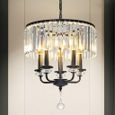 Candle Style Chandelier Lamp with Drum Clear Crystal Shade 5 Lights Modern Suspension Light in Black