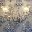 1/2 Heads Bell Wall Lighting with Clear Glass Shade and Crystal Decoration Vintage Gold Finish Sconce Light Fixture