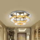 Modernist Round Semi Flush Light Crystal 2 Tier Clear/Amber Ceiling Flush Mount in Neutral/Warm/White/3 Color for Foyer