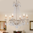 Clear Crystal Beaded Chandelier Lamp Modernist 6 Heads Pendant Light Fixture in Gold Finish for Bedroom