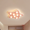 Blue/Pink/White Star Flush Ceiling Light Modern Metal 8 Bulbs Flush Lighting for Children Room