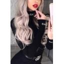 Cool Street Long Sleeve Simple Letter Print Mock Neck Black Slim Bodysuit for Girls