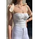 Edgy Girls Sleeveless Sweetheart Neck Bow Tie Strap Ruched Tight Tank Top