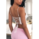 Cute White Sleeveless Scoop-Neck Lace-Up Back Ruched Slim Crop Cami for Girls