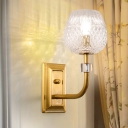 1/2-Head Hallway Wall Light Fixture Modernism Golden Wall Sconce Lamp with Dome Clear Lattice Glass Shade