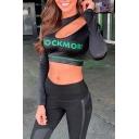 Unique Athleta Girls' Long Sleeve Cold Shoulder Letter ROCK MORE Print Slim Fit Black Crop T Shirt
