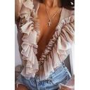 Elegant Female Blouson Sleeve Deep V-Neck Frilled Semi-Sheer Mesh Plain Fitted Bodysuit