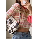 Trendy Girls' Long Sleeve Mock Neck Ruffled Cuff Checked Slim Fit Crop T-Shirt in Pink