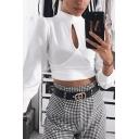 Stylish Girls' Long Sleeve Mock Neck Structured Shoulder Cut Out Plain Slim Crop T-Shirt