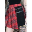 Punk Girls' High Waisted Zip Side Buckle Pin Detail Red Plaid Patchwork Asymmetric Pleated Short Skirt