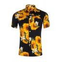 Allover Sunflower Printed Short Sleeve Button Up Summer Holiday Shirt for Men