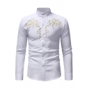 Mens Stylish Embroidery Pattern Long Sleeve Button Down Slim Fitted Party Shirt
