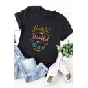 Arrows Letter GRATEFUL THANKFUL BLESSED Print Roll Up Short Sleeve Summer T-Shirt