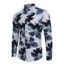 Metrosexual Mens Vintage Floral Pattern Long Sleeve Button Down Leisure Shirt