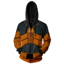 Orange and Black Colorblock Panel Long Sleeve Zip Up Classic Game Cosplay Hoodie