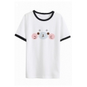 Girls Lovely Seal Face Printed Contrast Trim Short Sleeve Round Neck White T-Shirt