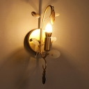 Bare Bulb Wall Sconce Lighting with Curved Arm Modern Metal 1 Light Sconce Light Fixture in Brass