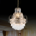 Crystal Curved Chandelier Pendant Light Victorian style 9-Light Gold Ceiling Lamp