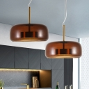 Tan Clear Glass Drum Pendant Lamp Contemporary 1 Head Hanging Ceiling Light for Bedroom