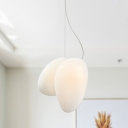 Stacked Ceiling Light Modern White Glass 1 Bulb Hanging Lamp Kit for Dining Room