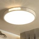 Minimalist K9 Crystal LED Ceiling Light White Rectangle/Round Flush Mounted Light with Acrylic Shade, 16