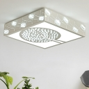 LED Tree Flush Mount Lamp Simple White Crystal Ceiling Mounted Fixture for Living Room in Warm/White/3 Color Light
