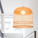 Bamboo Birdcage Drop Ceiling Light 1 Light Asian Style Pendant Lighting in Wood for Restaurant