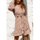 Ladies' Elegant Blouson Sleeve Deep V-Neck Bow-Tie Floral Print Ruffled Trim Sheath Short Wrap Dress in Brown